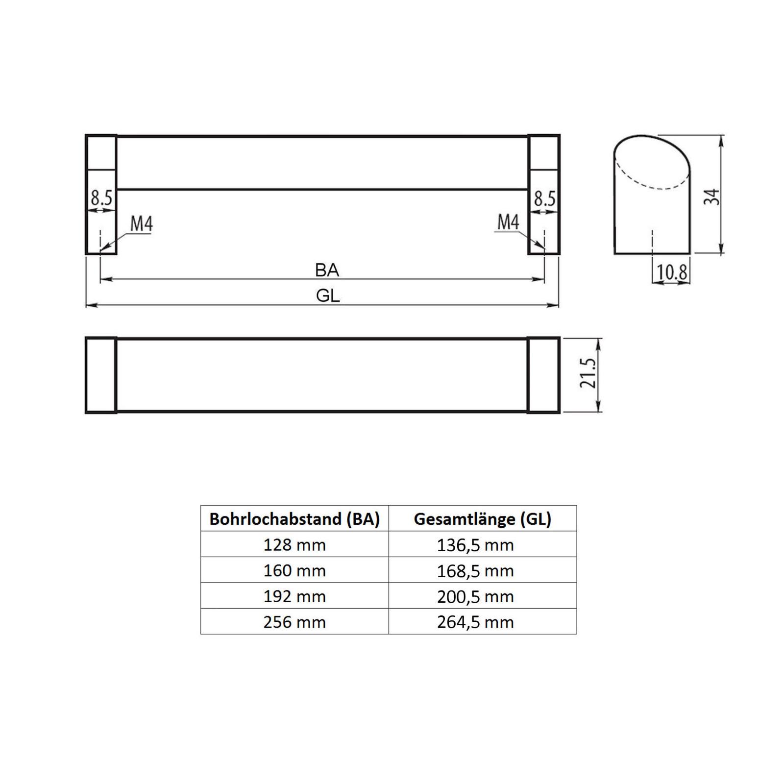 SO-TECH/® M/öbelgriff Stangengriff E14 Edelstahloptik BA 256 mm