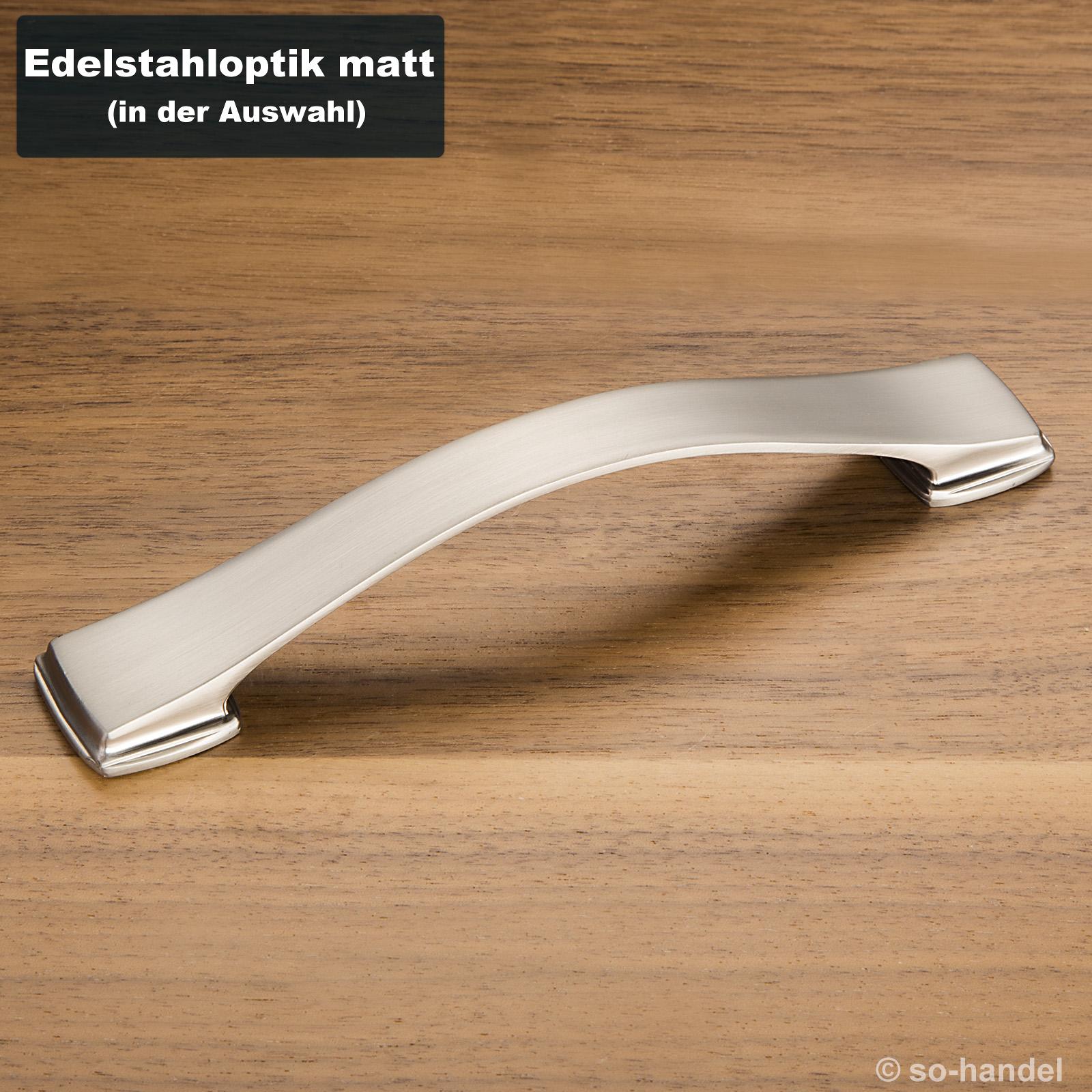 SO-TECH/® Schrankgriff ZOE II M/öbelgriff Schubladengriff Griff Bogengriff B/ügelgriff Kommodengriff BA 128 mm Edelstahl-Optik