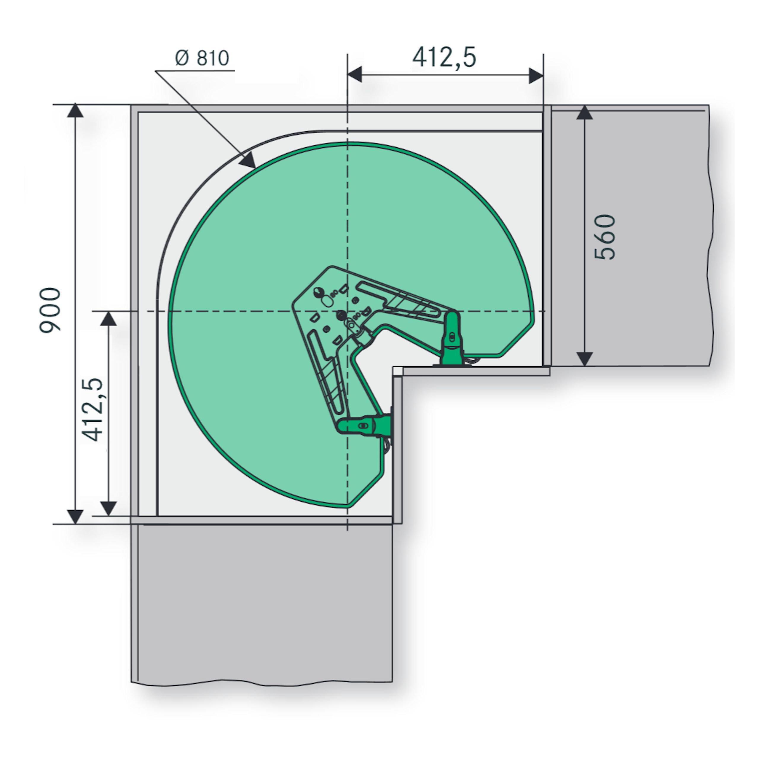 kesseb hmer revo 90 eckschrankbeschlag f r 90 eckschrank so. Black Bedroom Furniture Sets. Home Design Ideas