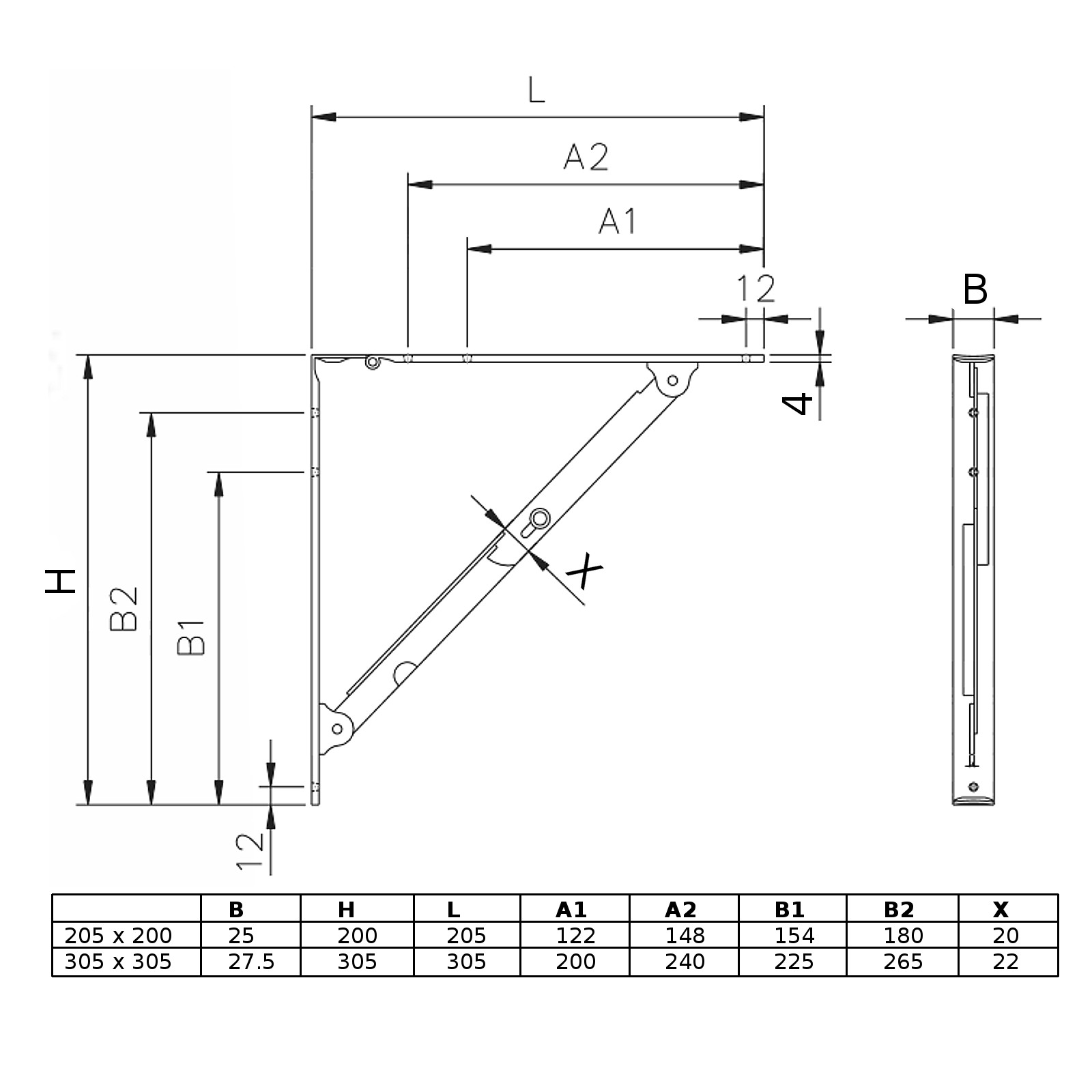 SO-TECH® Klappkonsole klappbare Regalwinkel Klappträger Klappenstütze bis 55 kg