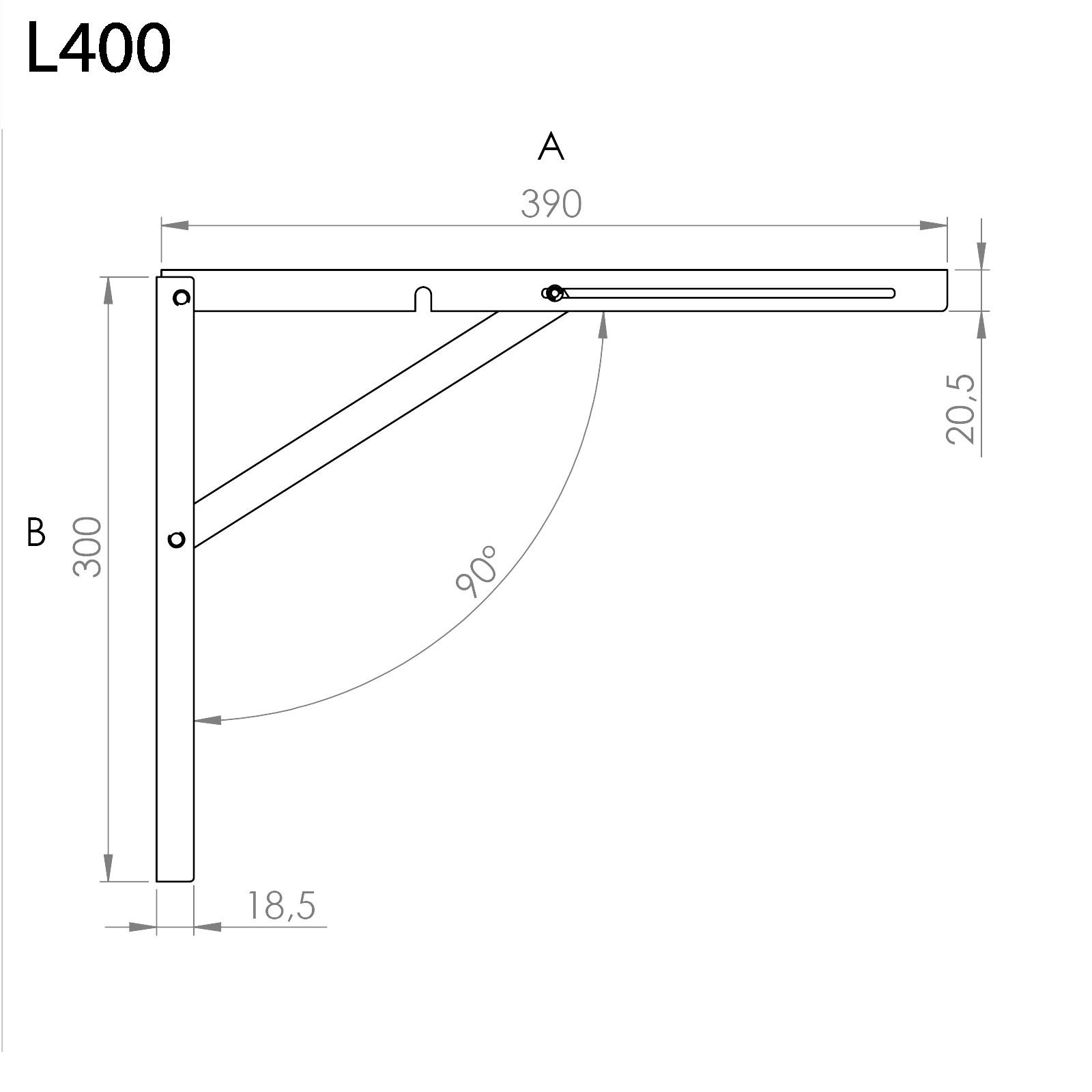 4 St/ück SO-TECH/® Klappkonsole Profi-Nr.1 L300 L/änge: 300 mm//H/öhe 260 mm Edelstahloptik matt Tragkraft 120 kg pro Paar satin