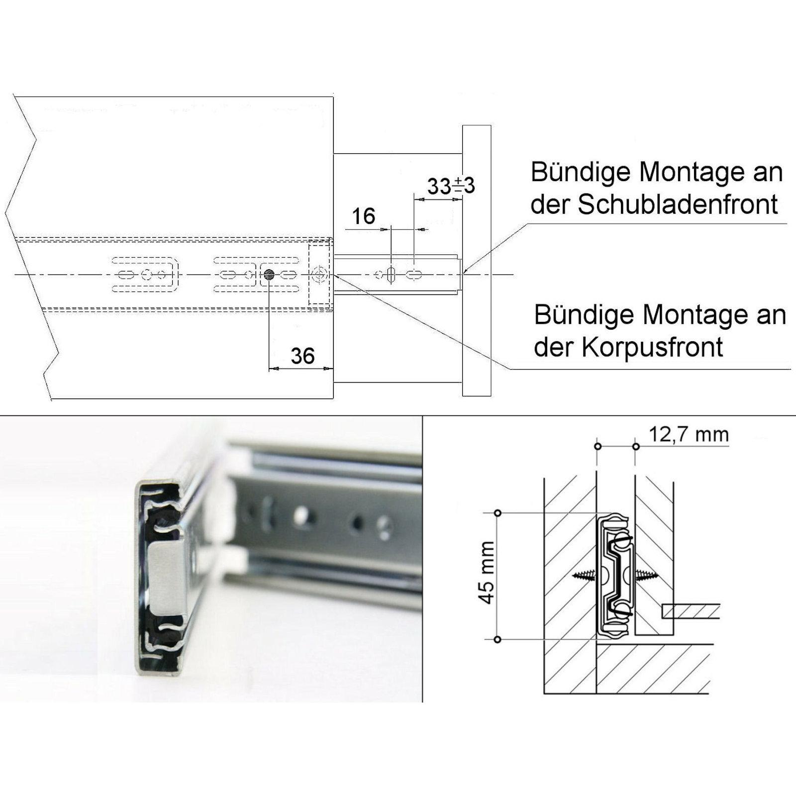 SO-TECH/® Vollausz/üge 250-750 mm mit 80 Kg Tragkraft Schubladenschiene Teleskopschiene 2 St/ück 1 Paar