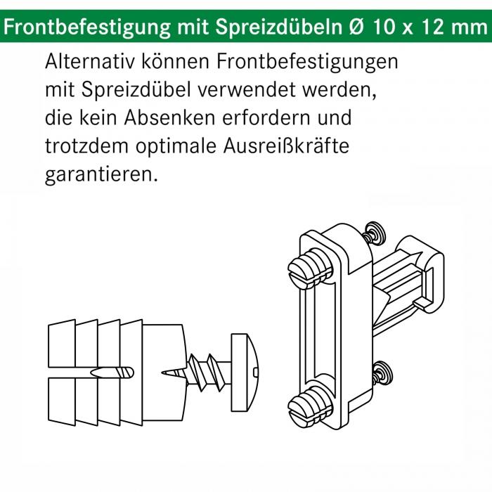 Grass Frontadapter mit Spreizd/übel f/ür DWD-XP Frontauszug Schubladenauszug Schublade