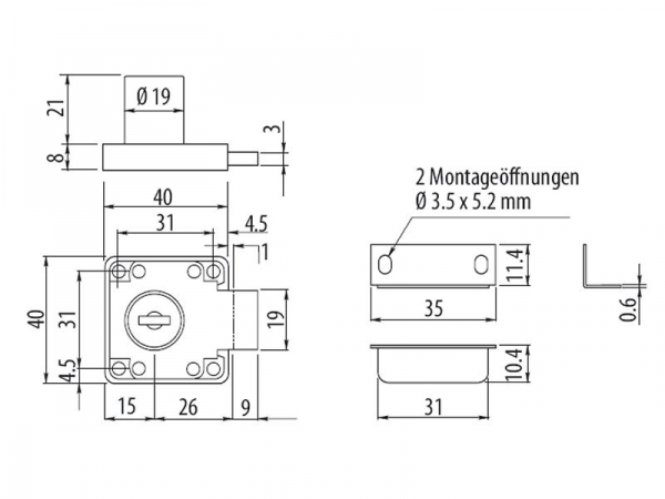 3 x SO-TECH/® M/öbelschlo/ß Zylinder-M/öbelschloss Aufschraubschloss